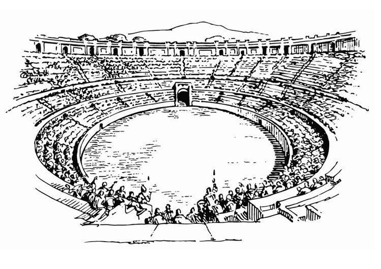 Dibujo para colorear Anfiteatro | antigua roma | Pinterest ...
