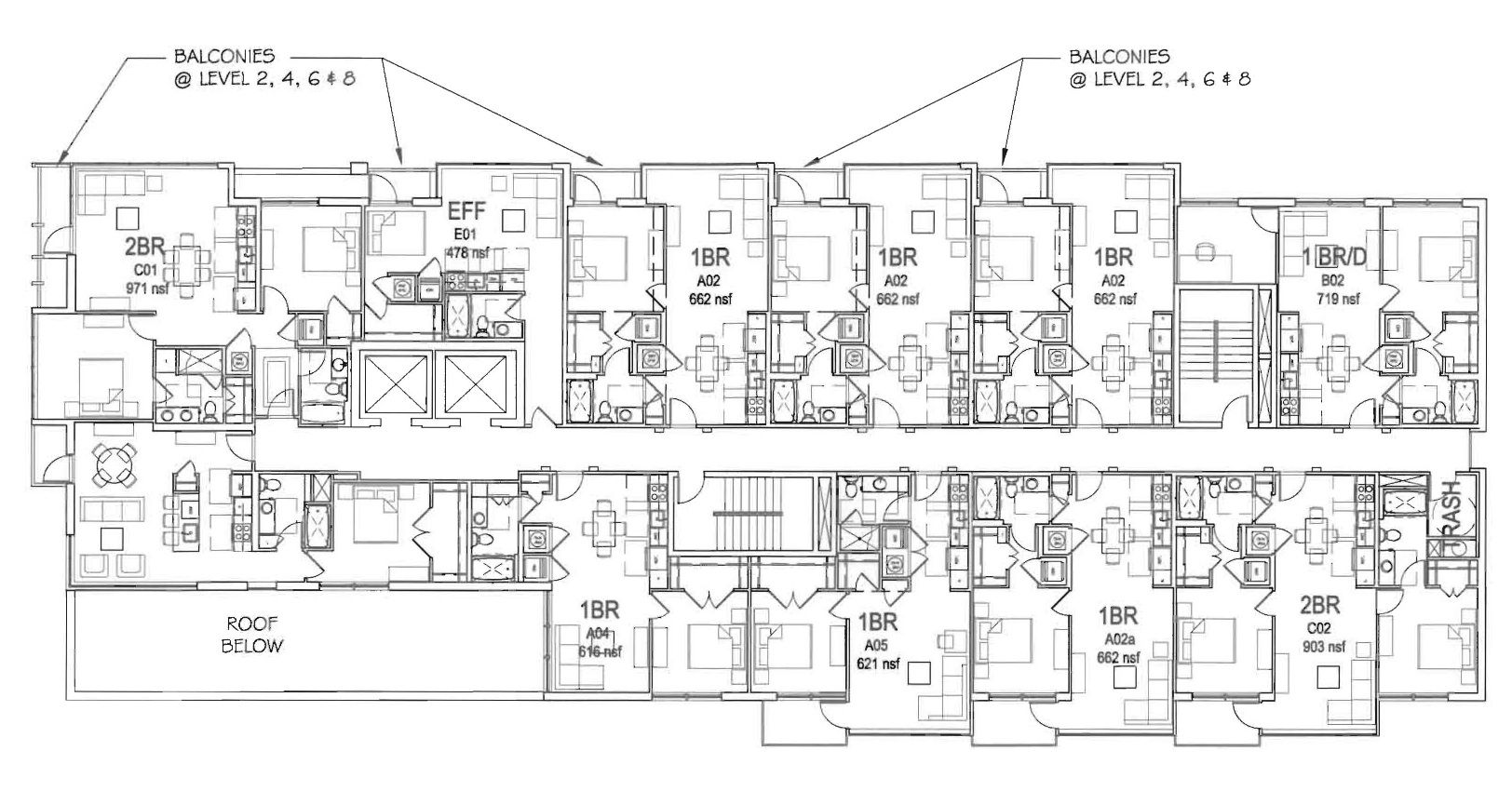 Apartment floor plans for mirym 39 s apartment building 7 for Apartment building plans 8 units
