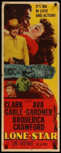 LONE STAR (1951) - Clark Gable - Ava Gardner - Broderick Crawford - MGM - Insert Movie Poster.