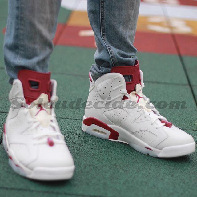 Air Jordan 6 De Mariage Blanc Rouge Foncé