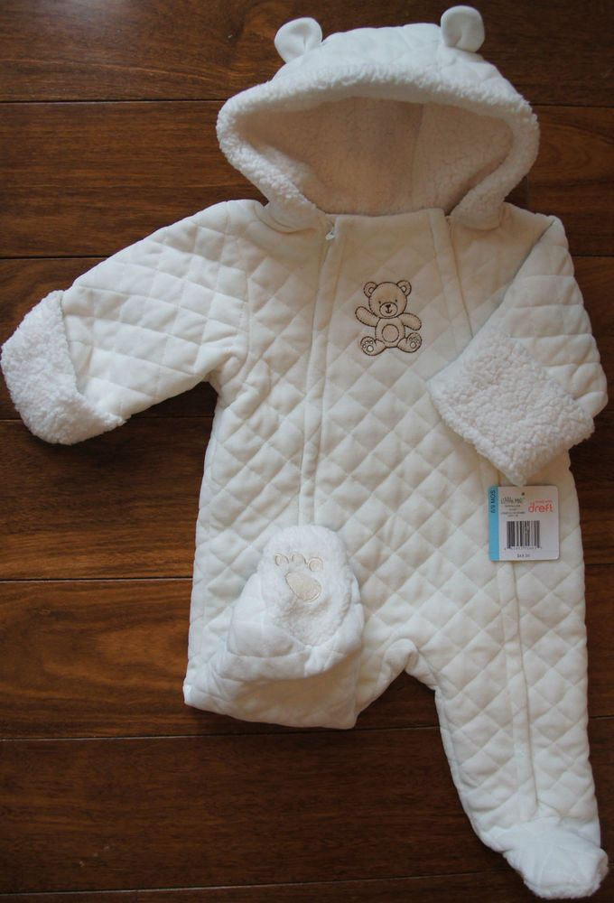 9a0f002fc LITTLE ME $50 Boy Bear Snowsuit Bunting Quilted Cotton Velvet Ivory Hooded  6-9 M #LittleMe #Snowsuit #DressyEveryday