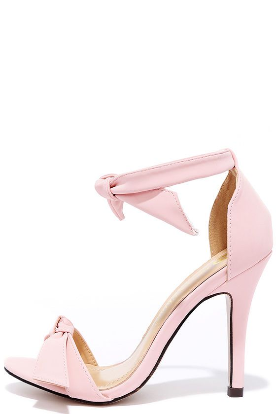 5b678f8b3 Memorable occasions start with an uplifting heel like the Belle Epoque  Light Pink Nubuck Ankle Strap Heels! Soft vegan nubuck shapes a bow-topped  toe strap