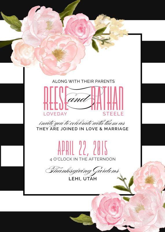 Modern Wedding Invitation Floral Black And White Stripes Romantic Modern Convite Estampas