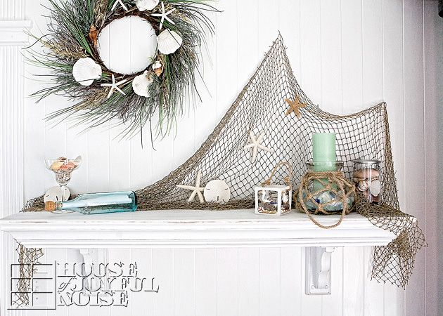 01_summer beach mantel decorating ideas - Beach Decorating Ideas