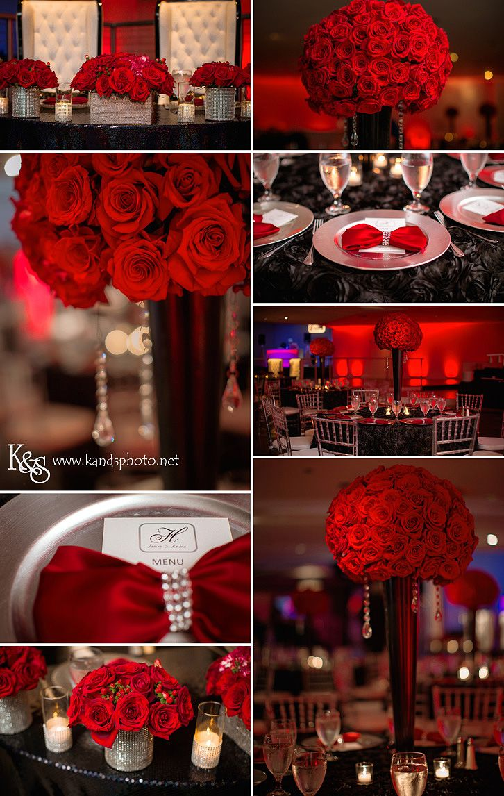 Red Wedding Inspiration Board with red roses eM the venue wedding in ...