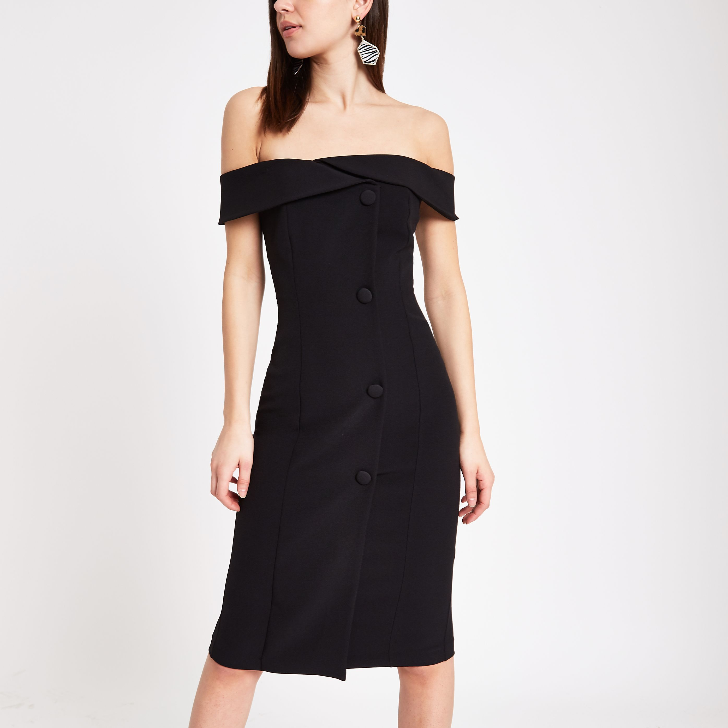 90ed83f0080 Black button front bardot midi dress in 2019