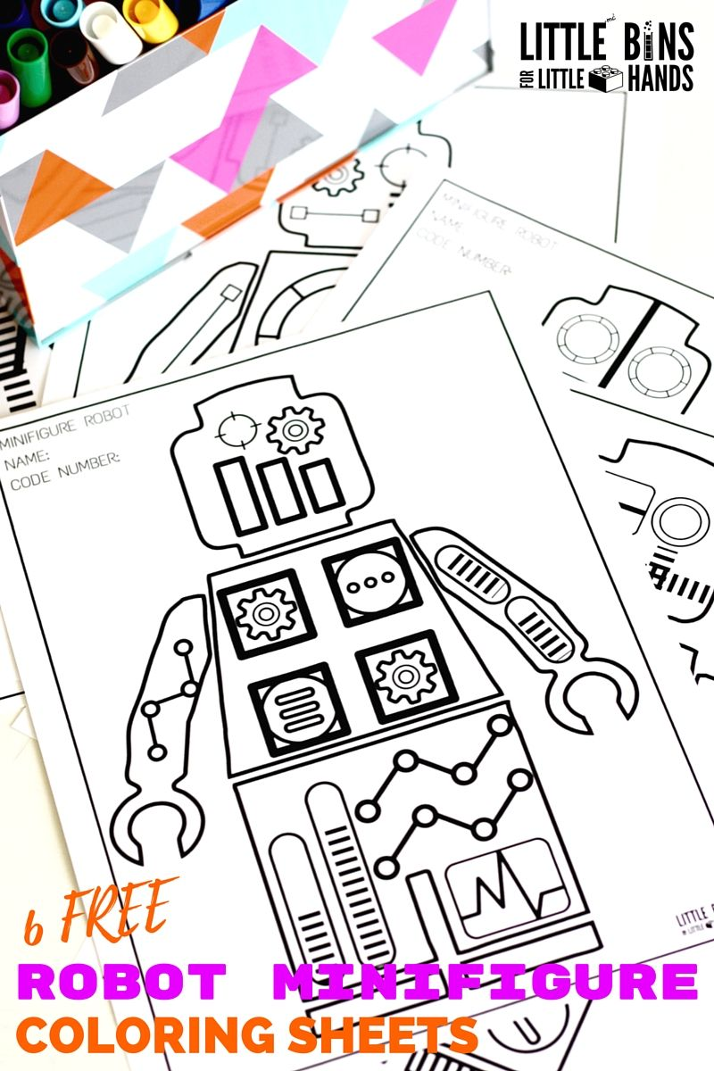 Minifigure Robot Coloring Pages Free Printable Coloring Sheets | Mi ...