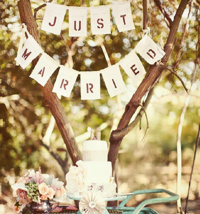 Just Married Banner Easy Diy