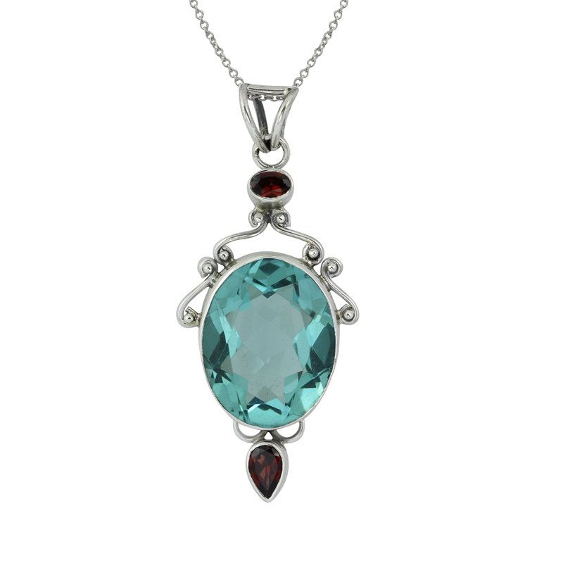Fadkart Designer Silver Plated Gemstone Pendant Jewelry For Girls /& Women