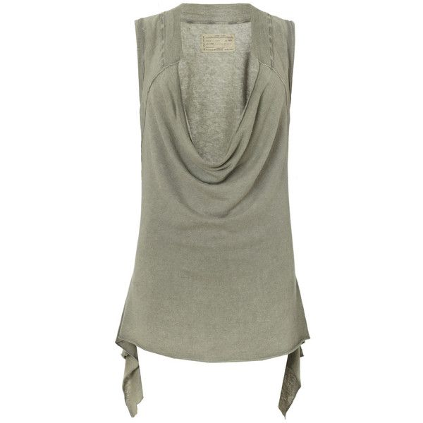 Amra Vest (56 CAD) ❤ liked on Polyvore featuring outerwear, vests, tops, women, allsaints, sleeveless vest, green vest, vest waistcoat and cropped vest