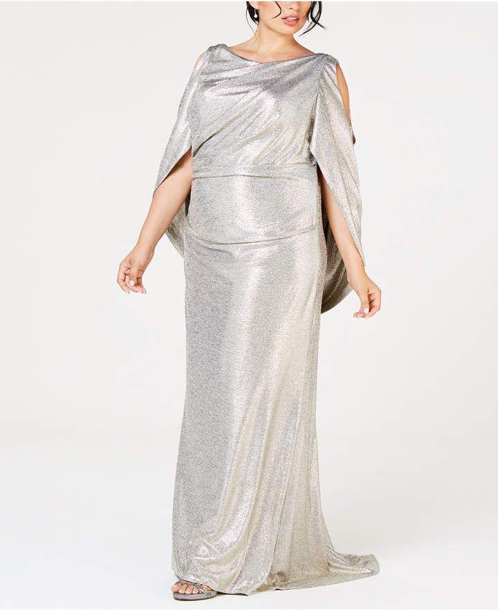 6e508d5c743 Betsy   Adam Plus Size Metallic Cold-Shoulder Cape Gown