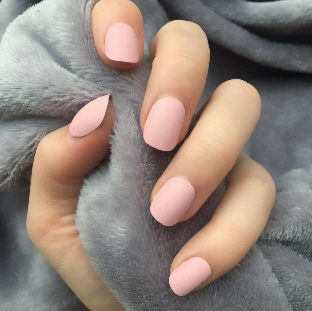14 Nail Matte Short Round In 2020 Baby Pink Nails Acrylic Pink Acrylic Nails Rounded Acrylic Nails