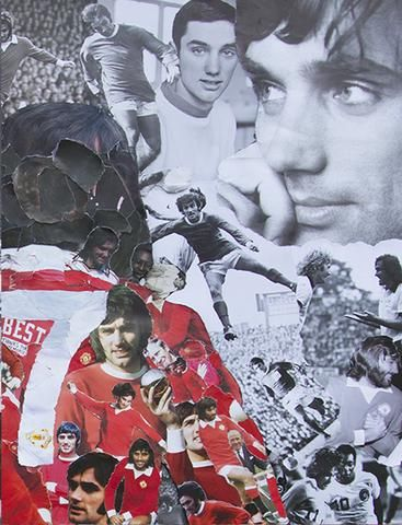 george best art collage made from ripped up pictures of george best