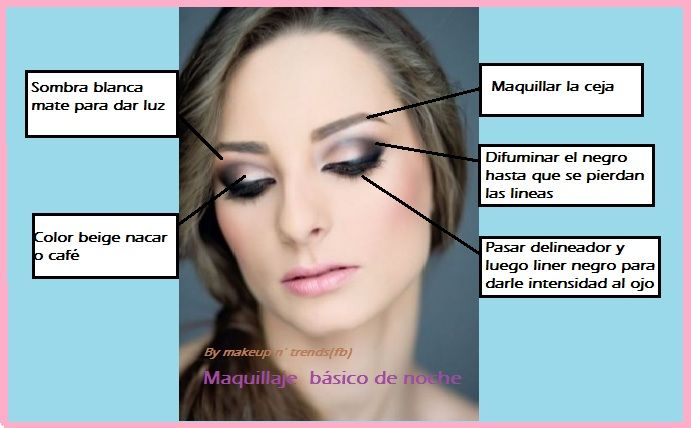 Night Makeup in 5 steps basic. Read and follow my advice here ... This note is written in Spanish :♥