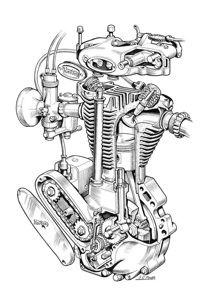 Knucklehead Harley Engine Drawing Blueprint
