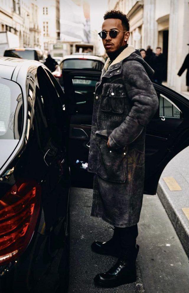 e8a4c3058ab Lewis Hamilton Wears Louis Vuitton Coat for Paris Fashion Week ...