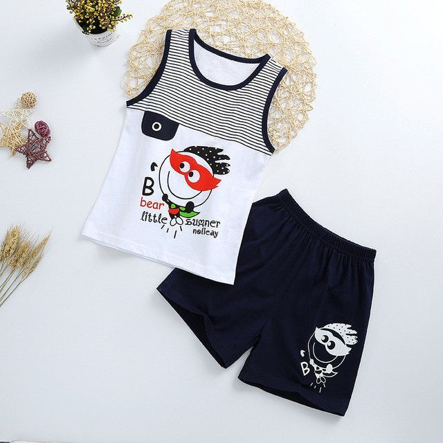 1-4T Baby Toldder Boy Girl Fashion Sleeveless Vest Top Shorts Chic Outfits
