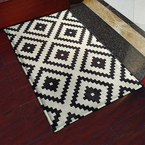 Yazi Black White Mosaics Doormats Stripe Indoor Outdoor M Https Www Amazon Co Uk Dp B01lzu9k2h Ref Cm Sw R Pi Dp X Scp White Kitchen Rugs Kitchen Rug Rugs