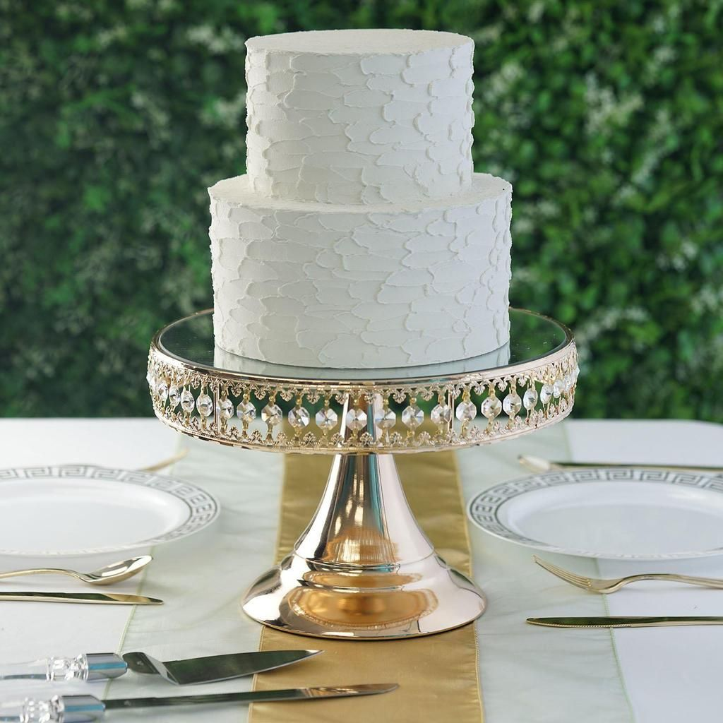 8 gold sparkling 65 crystal beaded cake stand with