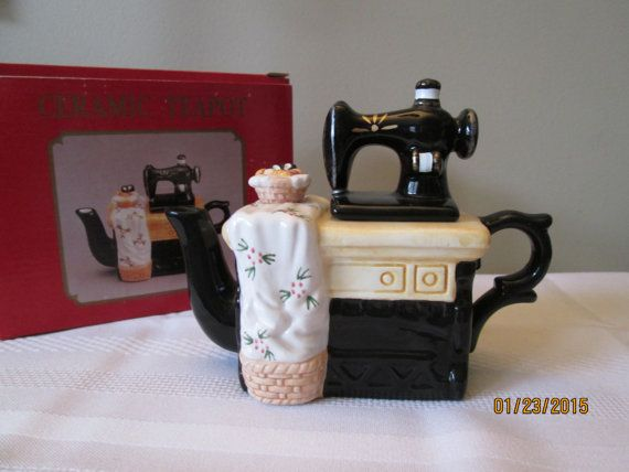 Vintage World Bazaar Miniture Sewing Machine Tea Pot by chulapoe