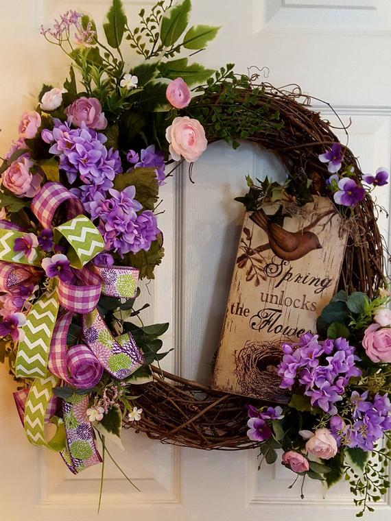 Farmhouse Spring Wreath For Front Door Rustic Spring Wreath
