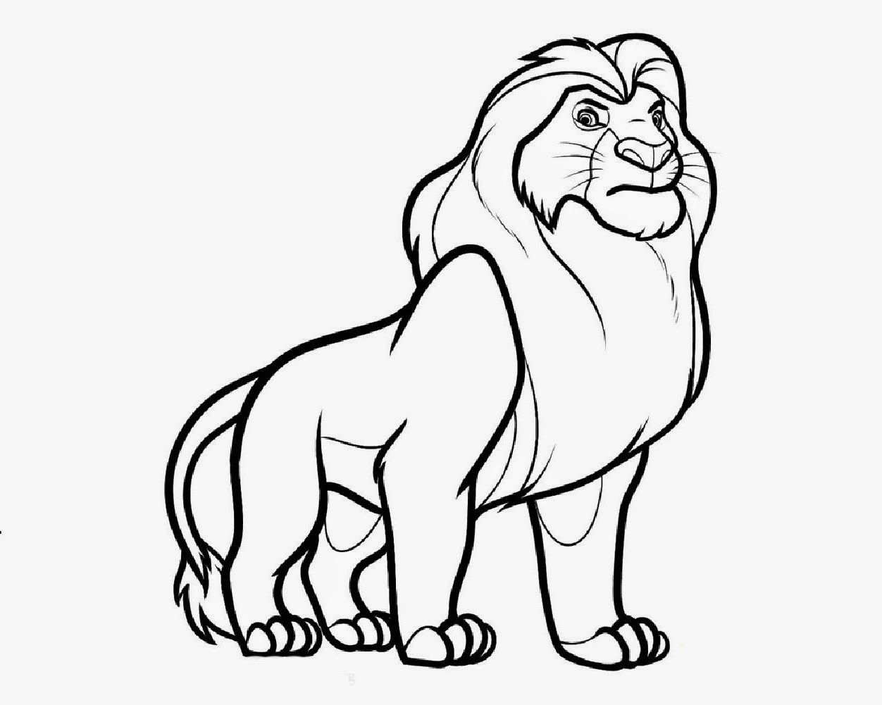 Easy Cartoon Drawings Of Animals Lion Coloring Pages Lion King Drawings Animal Coloring Pages
