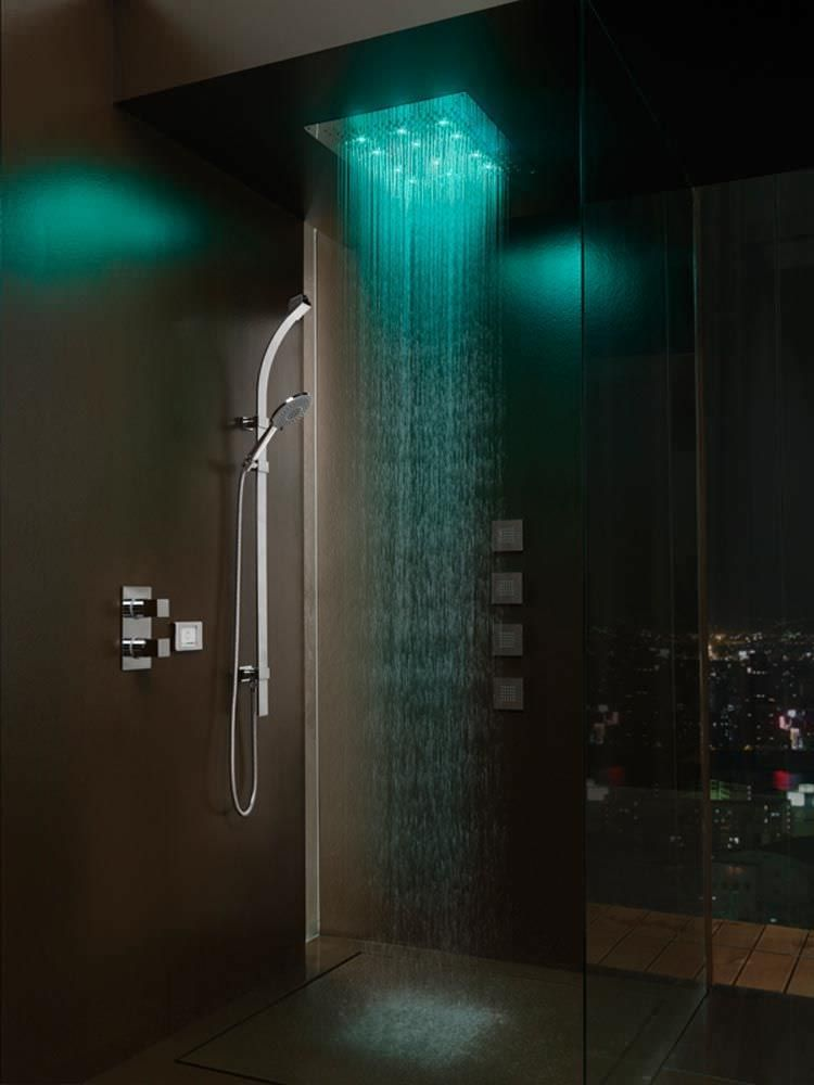 built in shower head with built in light rain with. Black Bedroom Furniture Sets. Home Design Ideas