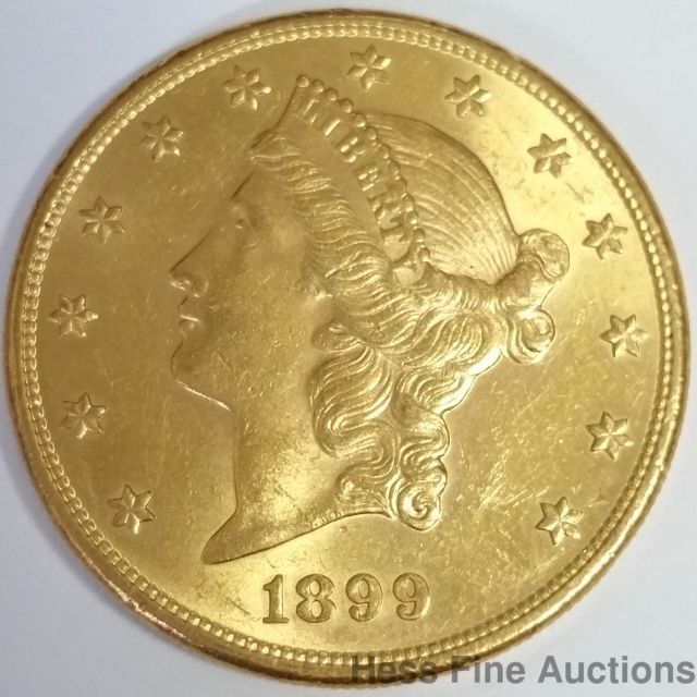 1899 S Coronet Double Eagle United States Twenty Dollar 20 Gold Coin Coins Gold Coins Us Coins
