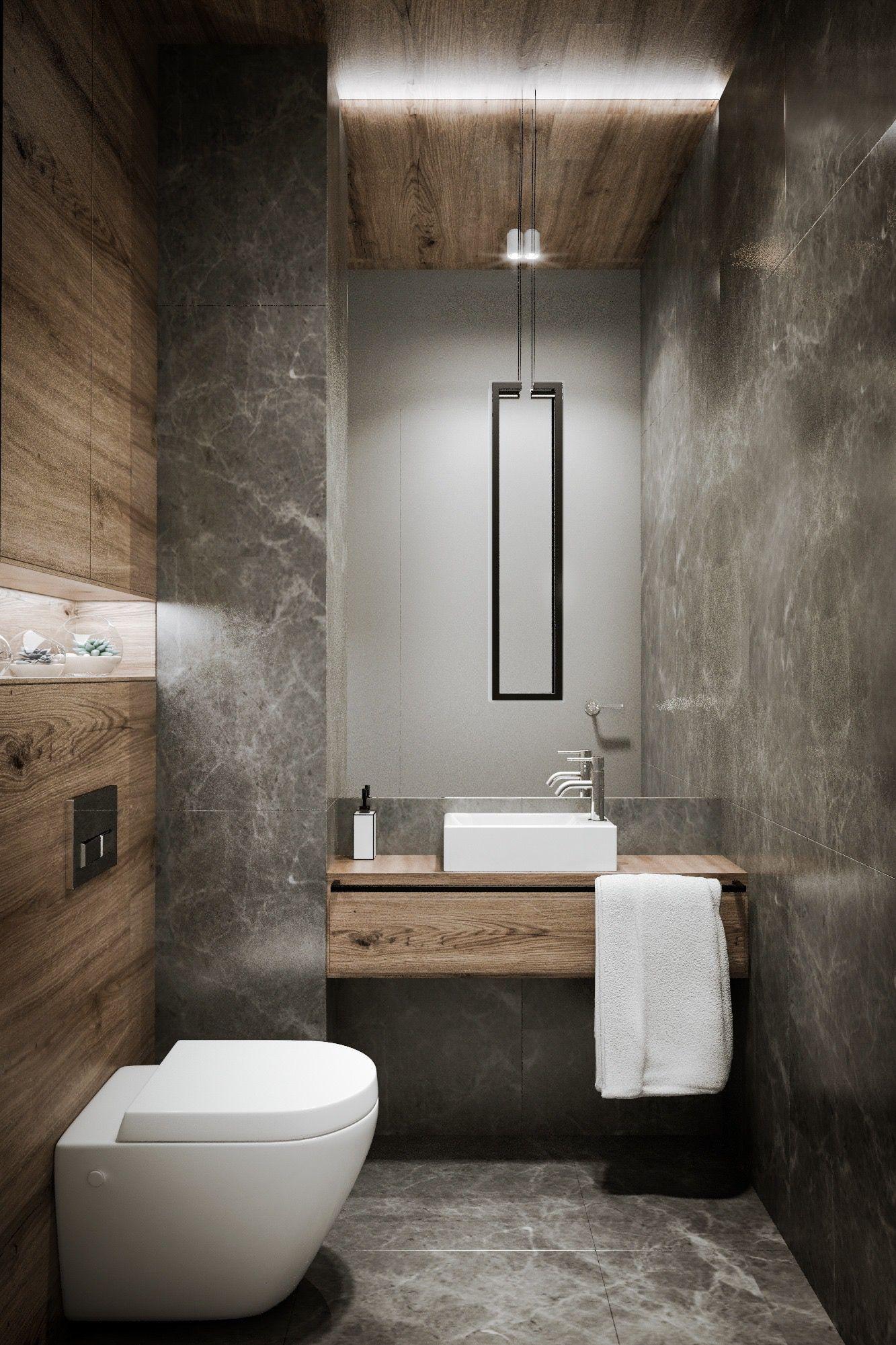 Salle de bains moderne effet b ton cir avec vasque carr e for Salle de bain wc design