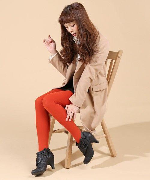 秋らしいオレンジも◎タイツコーデのおしゃれ着こなし☆スタイル・ファッションの参考に♪