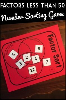 This Factor Sorting Game will builds number sense and fact fluency in a fun and engaging way! Each student is given a game mat and a corresponding deck of 16 number cards.  Students place the numbers on a triple Venn diagram based on their relationships as factors.