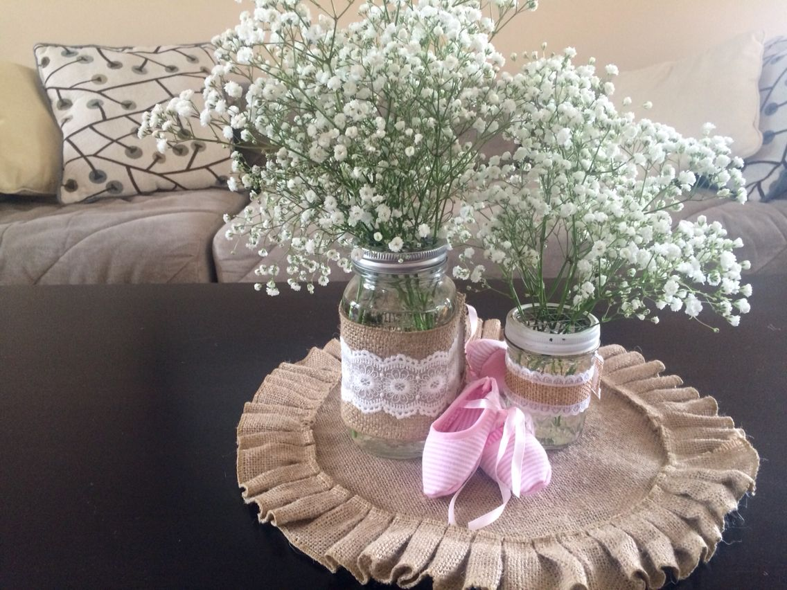 Baby shower centerpieces - DIY mason jars wrapped in burlap and lace then  filled with baby's