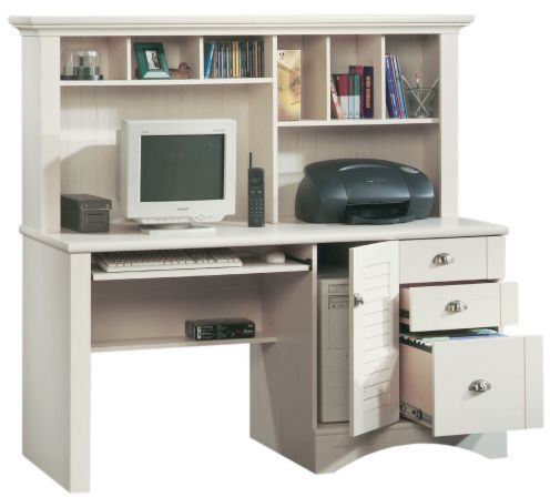 Sauder Harbor View Computer Desk with Hutch Antiqued White - Buy Sauder Harbor View Computer Desk With Hutch Antiqued White At