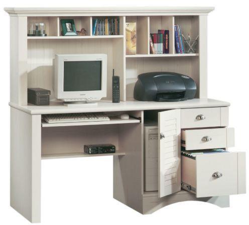 Sauder Harbor View Computer Desk with Hutch Antiqued White - Sauder Harbor View Computer Desk With Hutch Antiqued White New