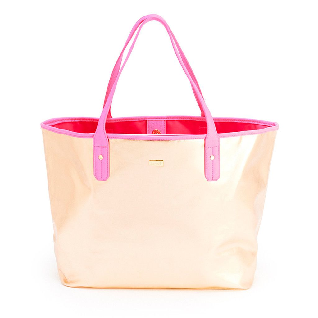 the everything tote - metallic rose gold + neon pink #rose-gold