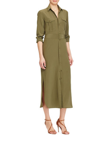 52413564e Polo Ralph Lauren Silk Crepe Button Down Olive Green Midi Shirt Belt Dress