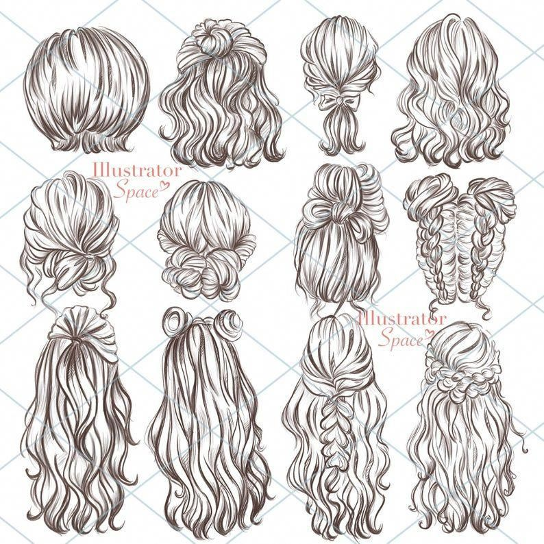 Hairstyles clipart hair set DIGITAL DOWNLOAD Custo