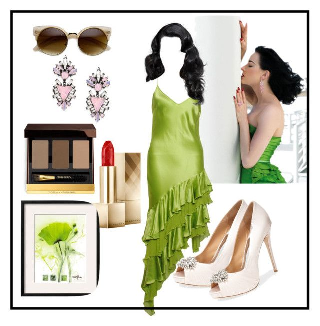 """""""L-Dita on high"""" by alenanikol ❤ liked on Polyvore featuring Dita Von Teese, Iceberg, Badgley Mischka, Tom Ford, Erickson Beamon and Burberry"""