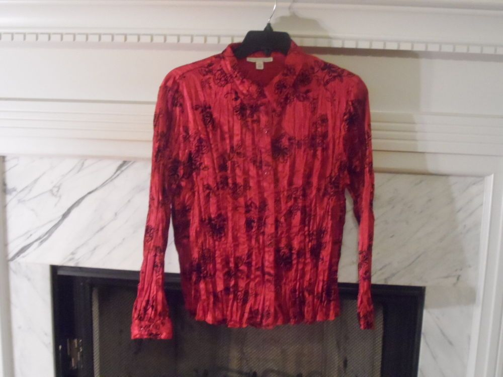 LADIES STUNNING RED AND BLACK LONG SLEEVE BLOUSE SIZE 16P #MCOLLECTION #Blouse #Career