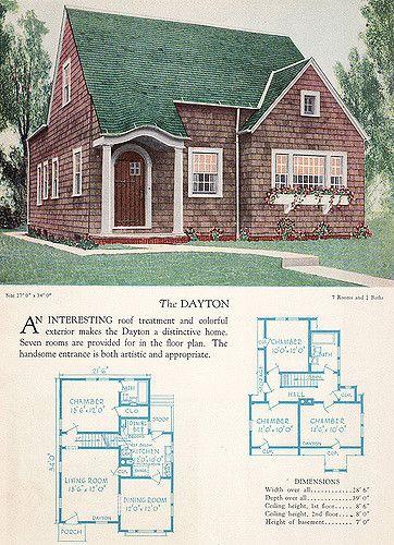 1928 Home Builders Catalog The Dayton Vintage House Plans House Plans Home Design Floor Plans