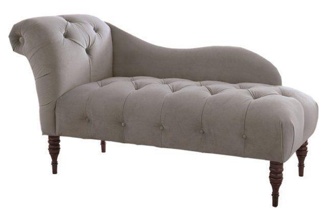 Frances Tufted Chaise Smoke Velvet Chaise Lounge Velvet Chaise Lounge Upholstered Chaise Lounge