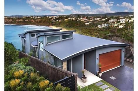 Sloping Home Designs Nsw Google Search Modern Beach House Modern House Design Roof Styles