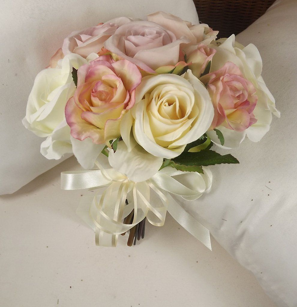 Wedding bouquet of artificial silk vintage pink and ivory rose wedding bouquet of artificial silk vintage pink and ivory rose flowers izmirmasajfo
