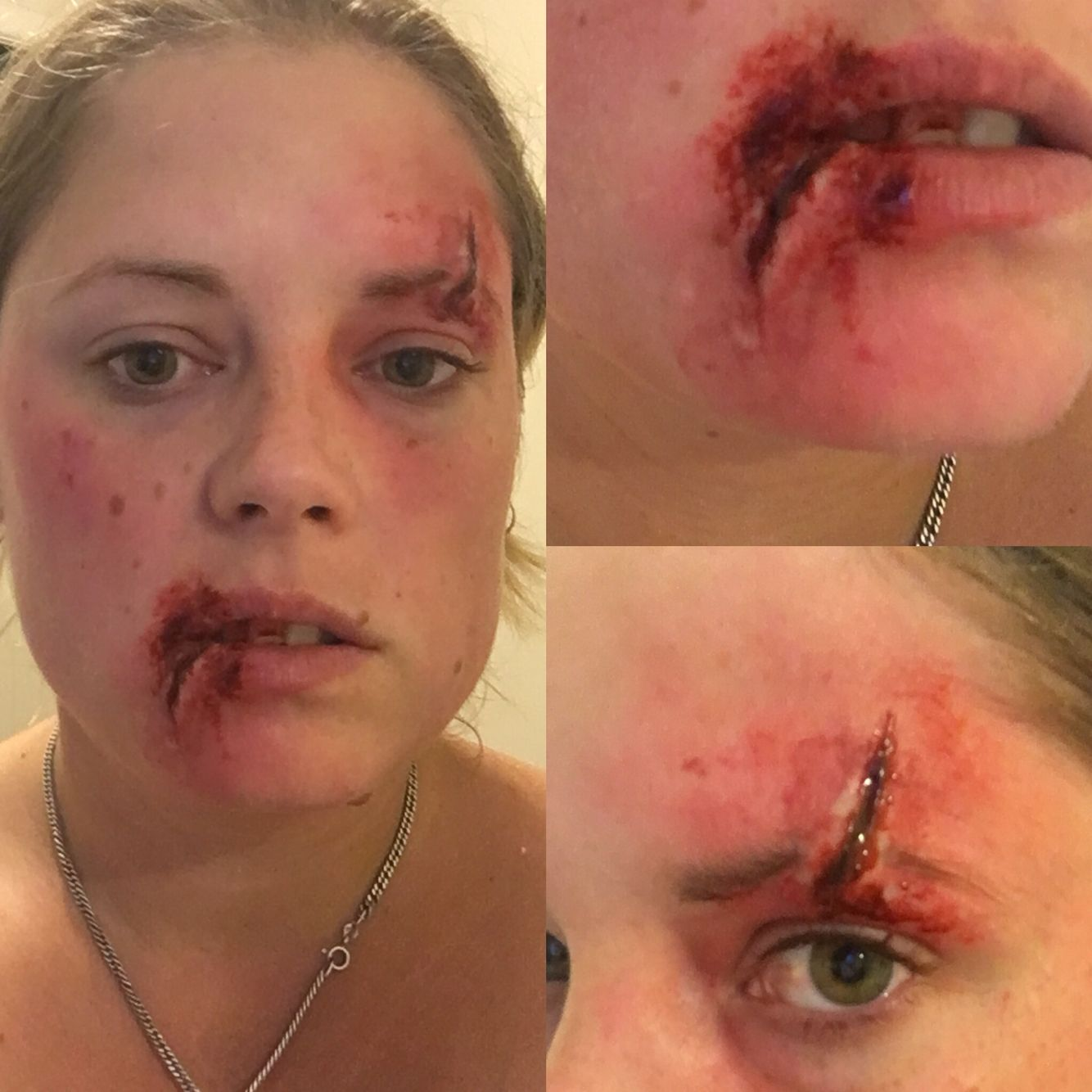 Split lip and brow wound sfx makeup | Fake it or Makeup ...