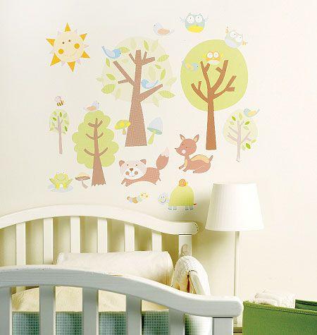 stickers chambre bébé histoires d'animaux sur   stickers chambre