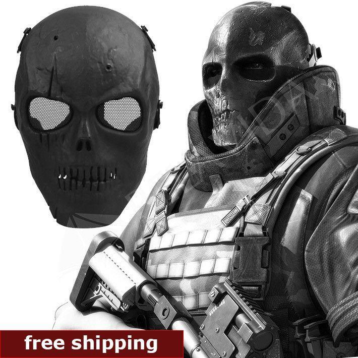 Skull Skeleton Airsoft Paintball Full Face Protect Mask Shot Helmets Foam padded inside Black ...
