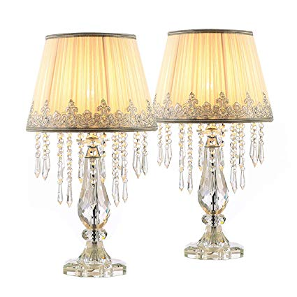 Moooni Two Set Of White Ruched Fabric Crystal Table Lamp Crystal Base Glam Bedside Desk Lamps Set Of 2 For Bedroom Crystal Table Lamps Bedside Desk Lamps Lamp