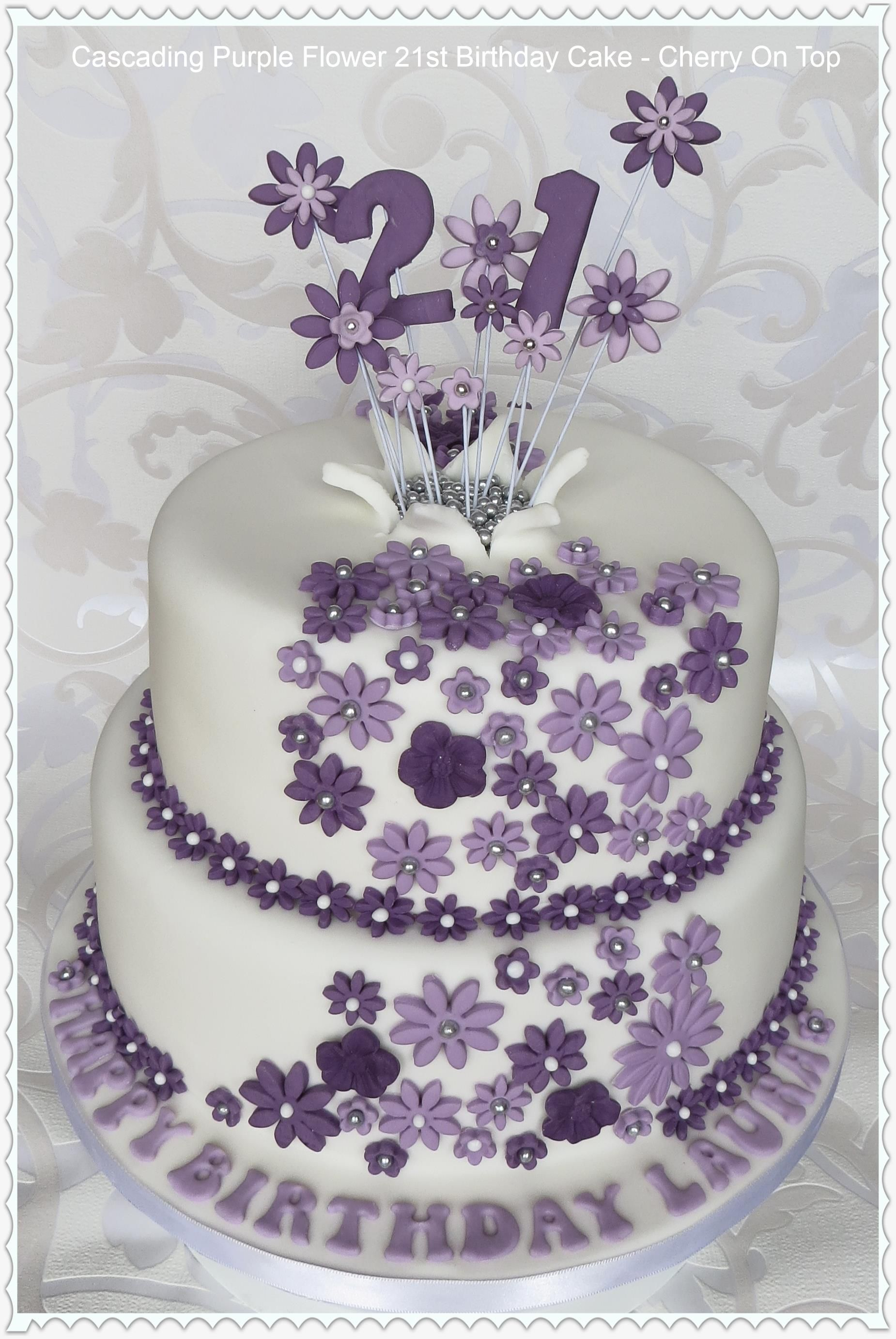 Purple Flowers 21st Birthday Cake  21st ideas  Pinterest  Birthday ...