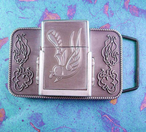 Vintage Lighter Buckle Men's Belt Accessory by NeatstuffAntiques