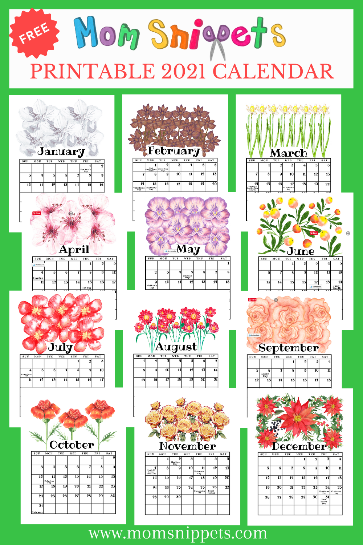 Free Printable 2021 Calendar in 2020 | Mom printable ...